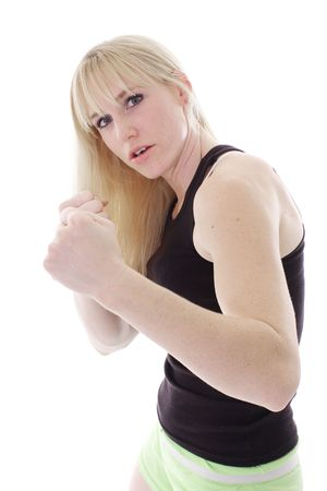 female in fight mode photo