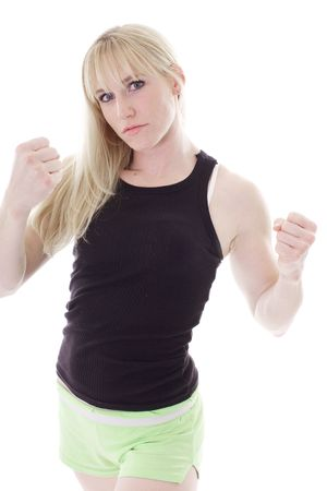 blonde showing fists