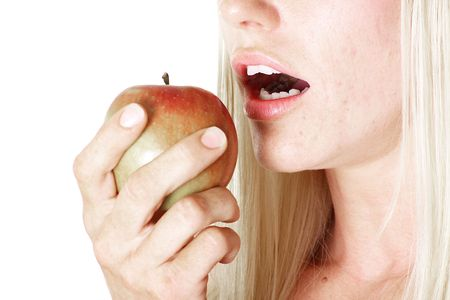 snacking: snacking on an apple Stock Photo