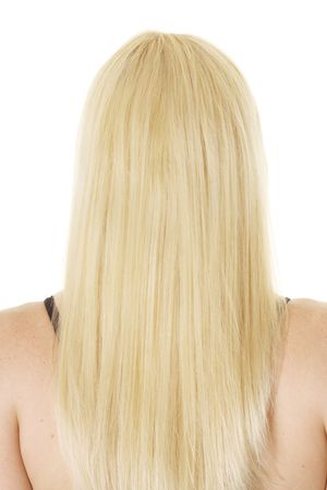 back straight: blonde with long hair
