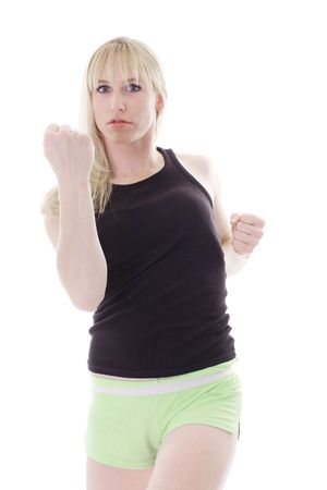angry blonde with fists up photo
