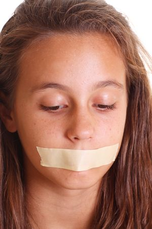 mouth taped shut isolated on white Stock Photo - 5794392