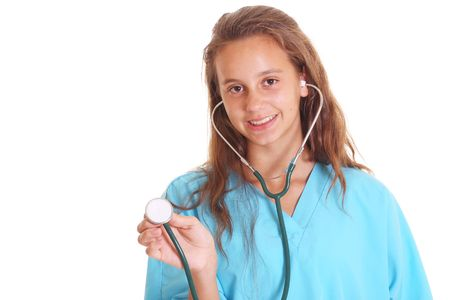 girl with stethoscope isolated on white photo