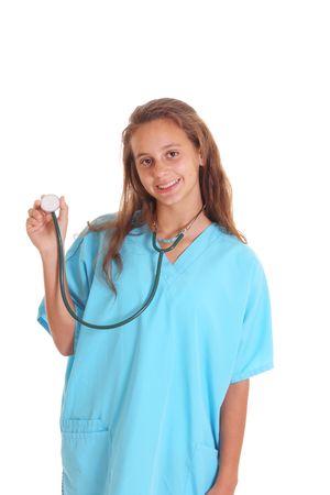 teen girl in scrubs isolated on white photo