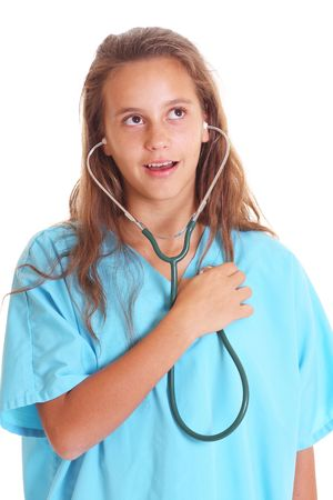 listening with stethoscope isolated on white photo