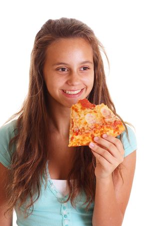 happy pizza girl photo
