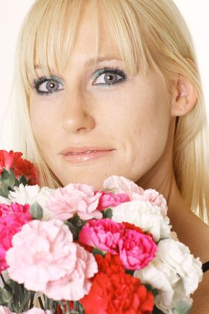 woman with carnations photo