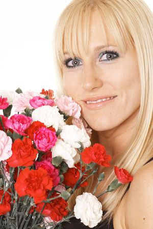 happy woman with flowers photo