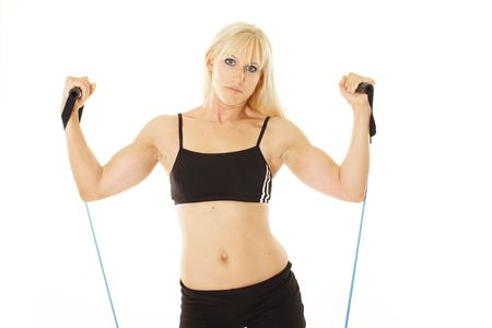exercising blonde closeup photo