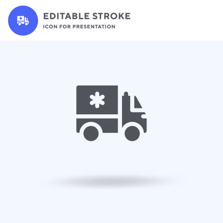 Ambulance icon vector, filled flat sign, solid pictogram isolated on white, logo illustration. Ambulance icon for presentation.
