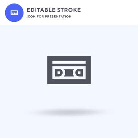 Casette icon vector, filled flat sign, solid pictogram isolated on white, logo illustration. Casette icon for presentation. Ilustração
