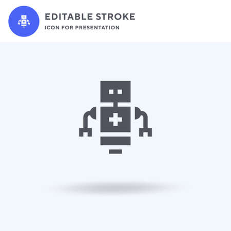 Medical Robot icon vector, filled flat sign, solid pictogram isolated on white  illustration. Medical Robot icon for presentation.