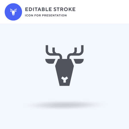 Reindeer icon vector, filled flat sign, solid pictogram isolated on white  illustration. Reindeer icon for presentation.