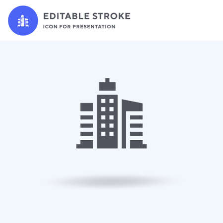 Buildings icon vector, filled flat sign, solid pictogram isolated on white, logo illustration. Buildings icon for presentation. Ilustração