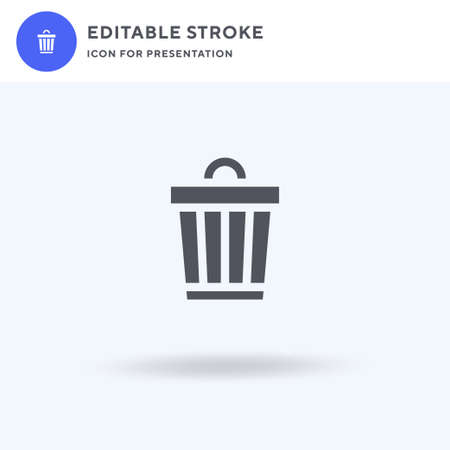 Bin icon vector, filled flat sign, solid pictogram isolated on white, logo illustration. Bin icon for presentation.