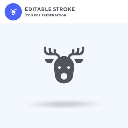Reindeer icon vector, filled flat sign, solid pictogram isolated on white,  illustration. Reindeer icon for presentation.