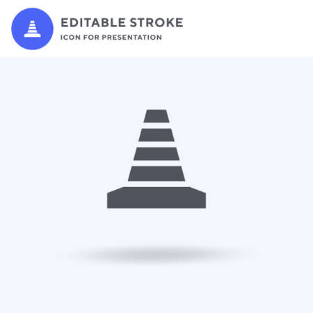 Traffic Cone icon vector, filled flat sign, solid pictogram isolated on white,   illustration. Traffic Cone icon for presentation.