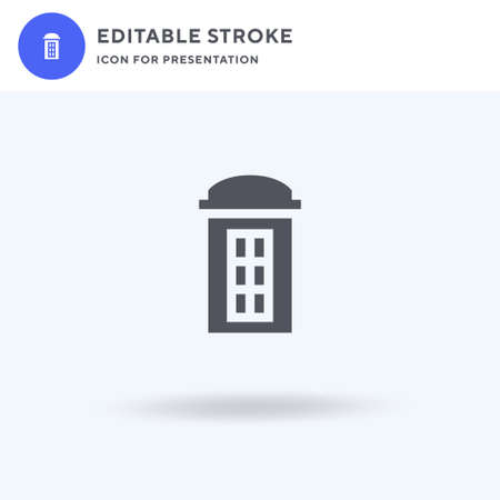 Telephone Box icon vector, filled flat sign, solid pictogram isolated on white,   illustration. Telephone Box icon for presentation.