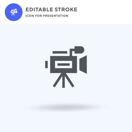 Video Camera icon vector, filled flat sign, solid pictogram isolated on white,  illustration. Video Camera icon for presentation.