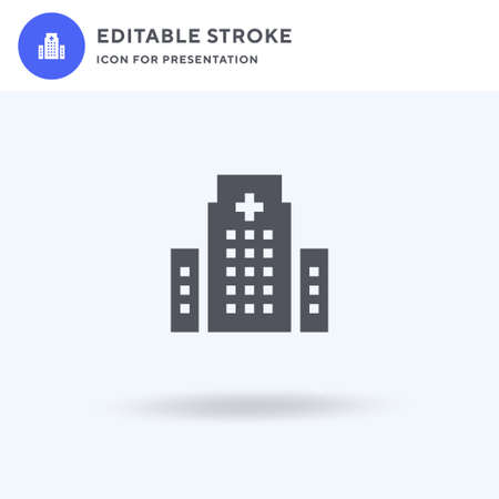 Hospital icon vector, filled flat sign, solid pictogram isolated on white,  illustration. Hospital icon for presentation.