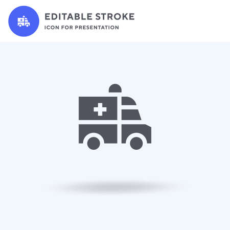 Ambulance icon vector, filled flat sign, solid pictogram isolated on white,  illustration. Ambulance icon for presentation. Vettoriali