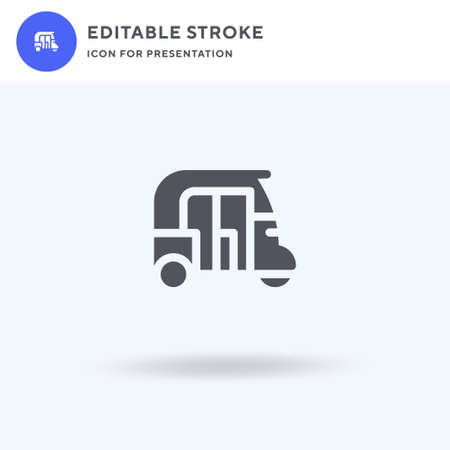 Rickshaw icon vector, filled flat sign, solid pictogram isolated on white, logo illustration. Rickshaw icon for presentation.