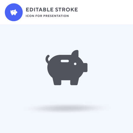 Piggy Bank icon vector, filled flat sign, solid pictogram isolated on white, logo illustration. Piggy Bank icon for presentation. 일러스트
