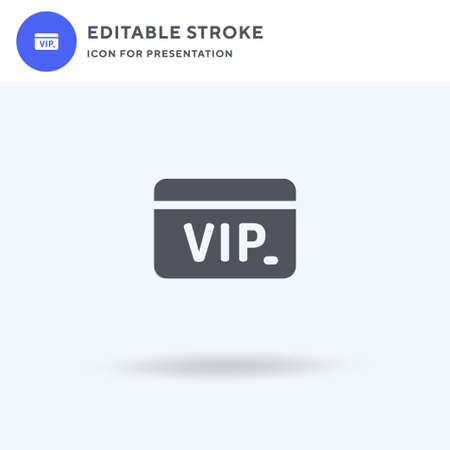 Vip Card icon vector, filled flat sign, solid pictogram isolated on white, logo illustration. Vip Card icon for presentation.