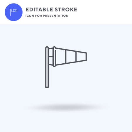 Windsock icon vector, filled flat sign, solid pictogram isolated on white, logo illustration. Windsock icon for presentation.
