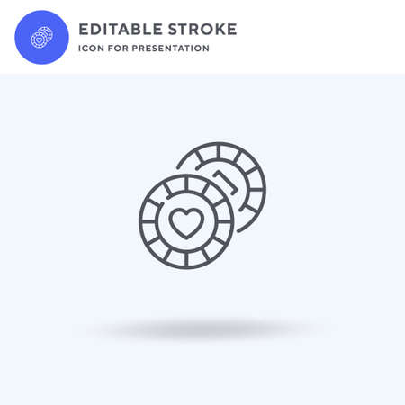Poker Chips icon vector, filled flat sign, solid pictogram isolated on white, logo illustration. Poker Chips icon for presentation.