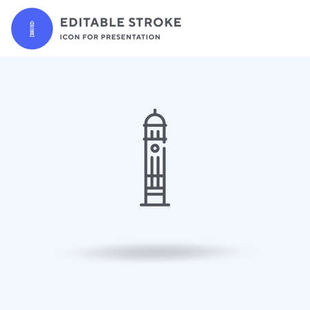 Clock Tower icon vector, filled flat sign, solid pictogram isolated on white, logo illustration. Clock Tower icon for presentation.