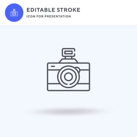 Camera icon vector, filled flat sign, solid pictogram isolated on white, logo illustration. Camera icon for presentation.