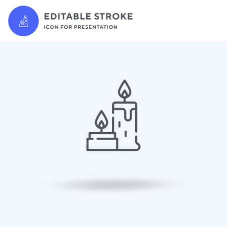 Candles icon vector, filled flat sign, solid pictogram isolated on white, logo illustration. Candles icon for presentation.