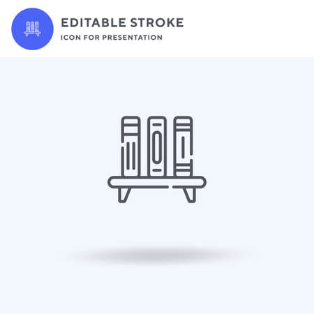 Bookshelf icon vector, filled flat sign, solid pictogram isolated on white, logo illustration. Bookshelf icon for presentation.