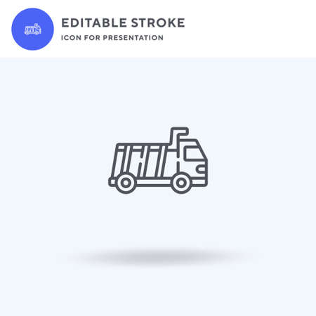 Dump Truck icon vector, filled flat sign, solid pictogram isolated on white, logo illustration. Dump Truck icon for presentation.