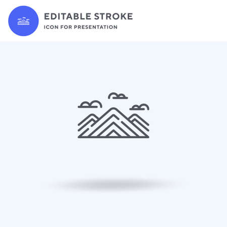 Rainbow Mountain icon vector, filled flat sign, solid pictogram isolated on white, logo illustration. Rainbow Mountain icon for presentation.