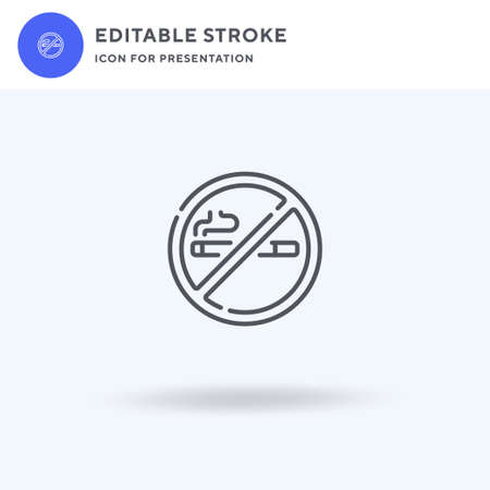 No Smoking icon vector, filled flat sign, solid pictogram isolated on white, logo illustration. No Smoking icon for presentation.