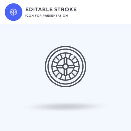 Casino Roulette icon vector, filled flat sign, solid pictogram isolated on white, logo illustration. Casino Roulette icon for presentation.