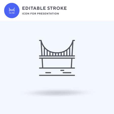Bridge icon vector, filled flat sign, solid pictogram isolated on white, logo illustration. Bridge icon for presentation.
