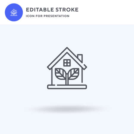 Eco House icon vector, filled flat sign, solid pictogram isolated on white, logo illustration. Eco House icon for presentation.