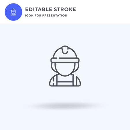 Builder icon vector, filled flat sign, solid pictogram isolated on white, logo illustration. Builder icon for presentation.