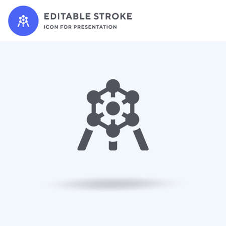 Atomium icon vector, filled flat sign, solid pictogram isolated on white, logo illustration. Atomium icon for presentation.