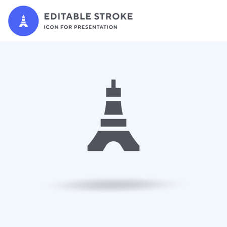 Tokyo Tower icon vector, filled flat sign, solid pictogram isolated on white, logo illustration. Tokyo Tower icon for presentation.