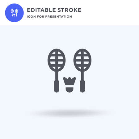 Badminton Equipment icon vector, filled flat sign, solid pictogram isolated on white, logo illustration. Badminton Equipment icon for presentation.