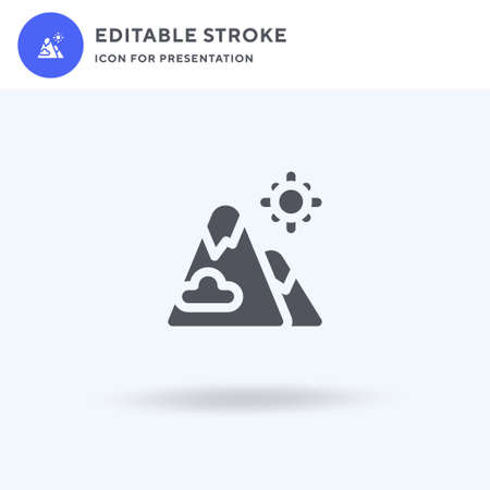 Mountains icon vector, filled flat sign, solid pictogram isolated on white, logo illustration. Mountains icon for presentation. Illustration