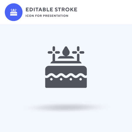 Birthday Cake icon vector, filled flat sign, solid pictogram isolated on white, logo illustration. Birthday Cake icon for presentation. 矢量图像