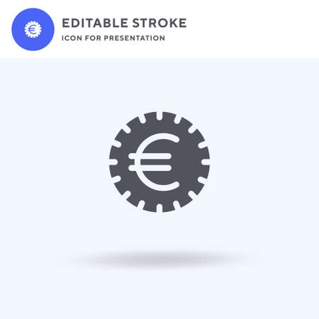 Euro icon vector, filled flat sign, solid pictogram isolated on white, logo illustration. Euro icon for presentation. Vectores