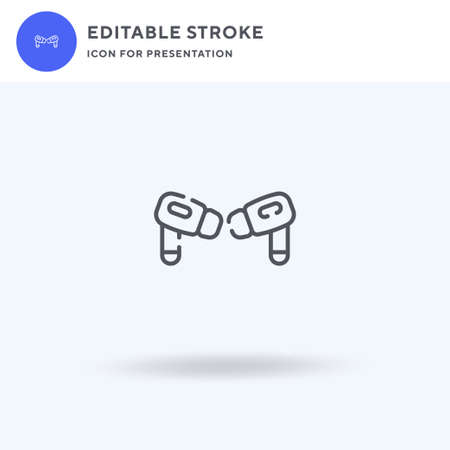 Earphones icon vector, filled flat sign, solid pictogram isolated on white, logo illustration. Earphones icon for presentation.