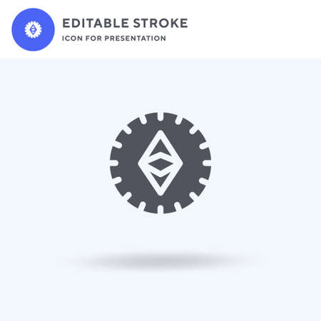 Ethereum icon vector, filled flat sign, solid pictogram isolated on white, logo illustration. Ethereum icon for presentation.