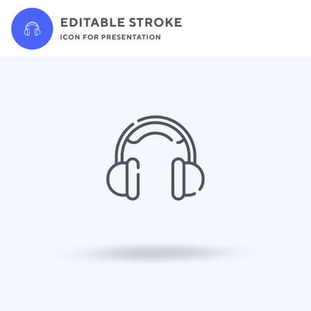 Headphones icon vector, filled flat sign, solid pictogram isolated on white, logo illustration. Headphones icon for presentation.